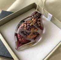 Pink Murano Glass Leaf Necklace
